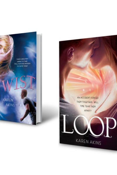 Covers for Loop and Twist YA time travel duology by author Karen Akins